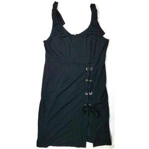VENUS Lace Up Sexy Little Black Dress Bows